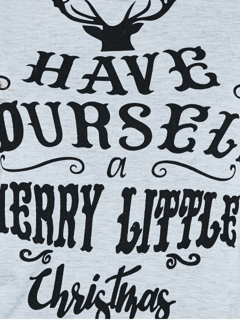 trendy Christmas Letter Baseball T-Shirt - GRAY L Mobile