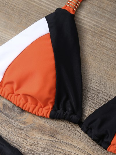 Geometric Color Block Bikini Set - ORANGEPINK L Mobile