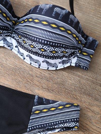 Geometric Horse Print Bikini Set - BLACK S Mobile