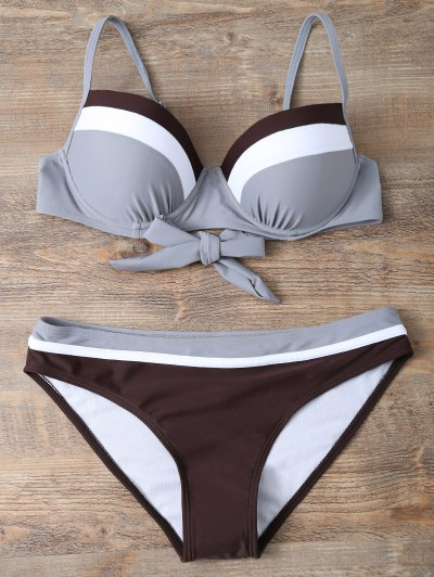 Color Block Bowknot Bikini Set - GRAY L Mobile
