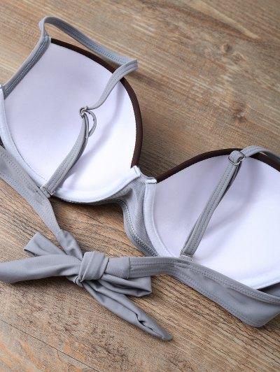 Color Block Bowknot Bikini Set - GRAY M Mobile