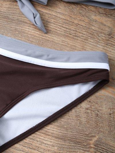 Color Block Bowknot Bikini Set - GRAY S Mobile