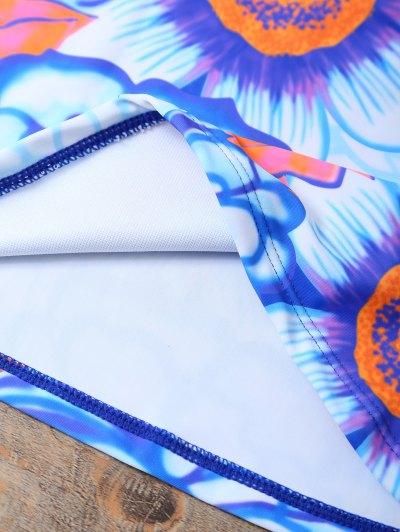 Ethnic Style Floral Tankini Set - BLUE L Mobile