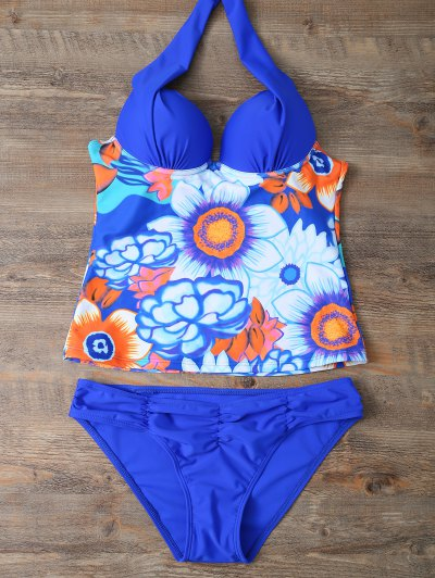 Ethnic Style Floral Tankini Set - BLUE M Mobile