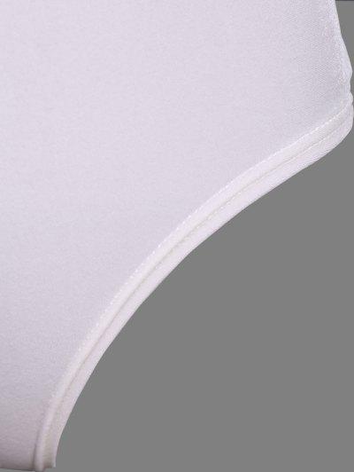 Turtle Neck Velvet Bodysuit - WHITE L Mobile
