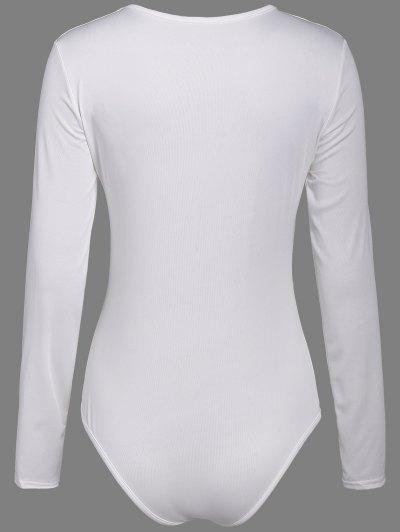 Cut Out Lace-Up Bodysuit - WHITE XL Mobile