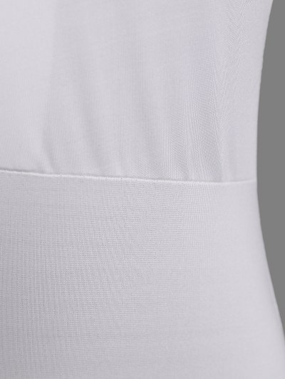 Cut Out Lace-Up Bodysuit - WHITE M Mobile