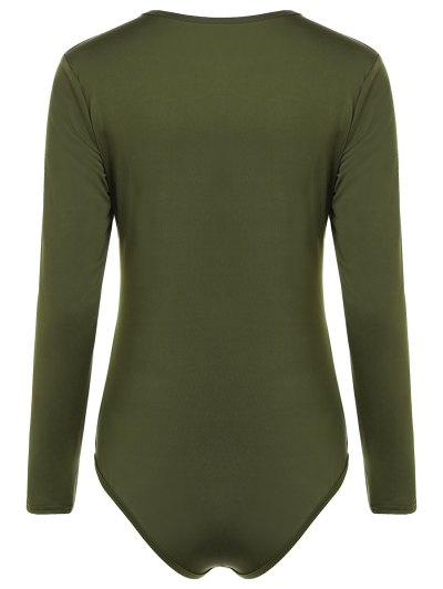 Cut Out Lace-Up Bodysuit - ARMY GREEN M Mobile