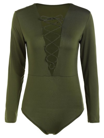 Cut Out Lace-Up Bodysuit - ARMY GREEN S Mobile