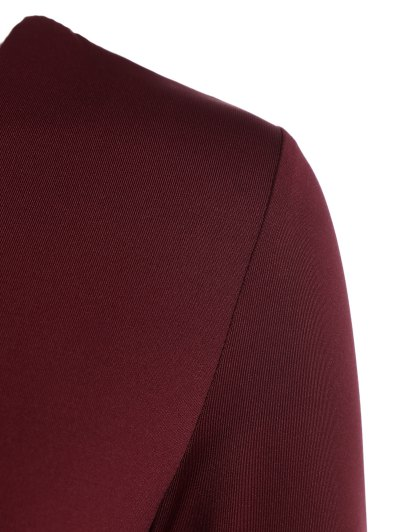 Cut Out Lace-Up Bodysuit - WINE RED XL Mobile
