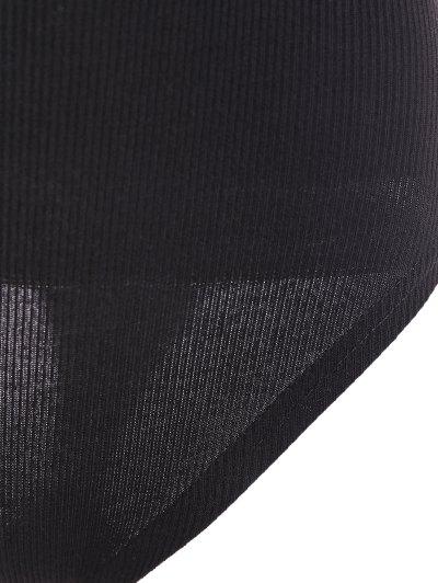 Ribbed Cut Out Bodysuit - BLACK L Mobile