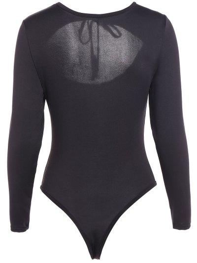 String Choker Bodysuit - BLACK M Mobile