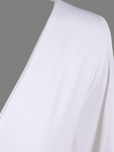 Ruched Split Sleeve Bodysuit - WHITE L Mobile