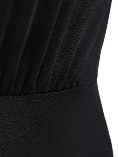 Ruched Split Sleeve Bodysuit - BLACK M Mobile