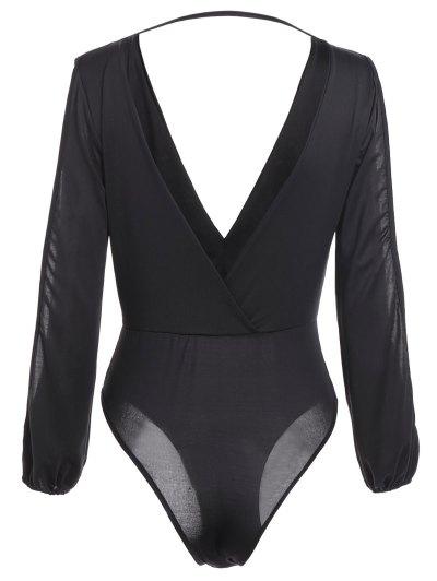Ruched Split Sleeve Bodysuit - BLACK S Mobile