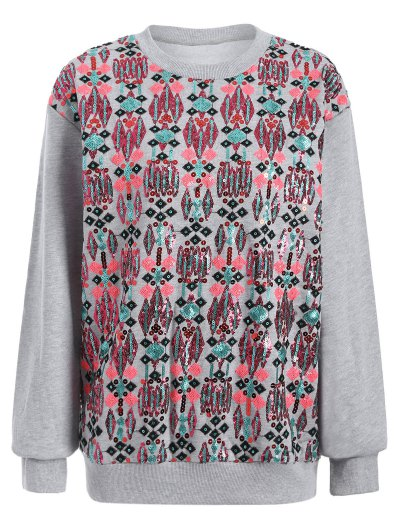 Embroidered Sequined Sweatshirt - GRAY L Mobile