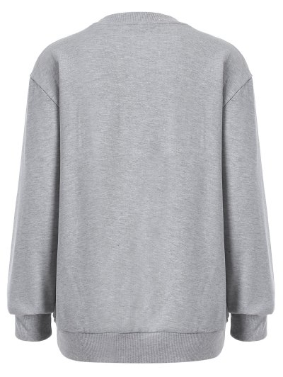 Embroidered Sequined Sweatshirt - GRAY M Mobile