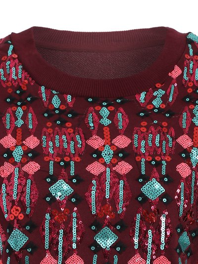Embroidered Sequined Sweatshirt - WINE RED M Mobile