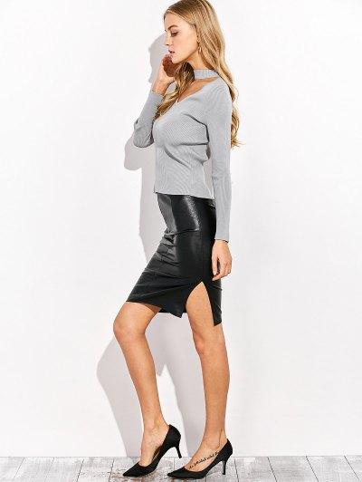 Choker Ribbed Knitwear - GRAY XL Mobile