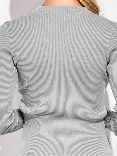 Choker Ribbed Knitwear - GRAY M Mobile