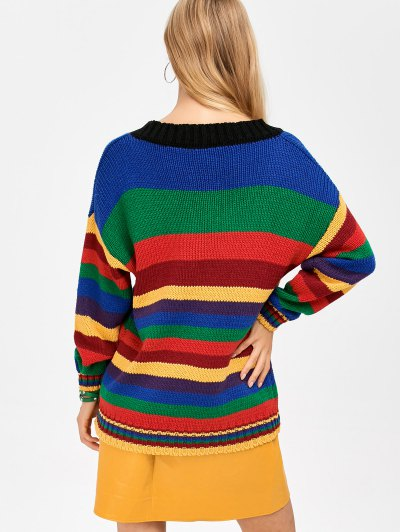 Long Striped V Neck Sweater - BLUE ONE SIZE Mobile