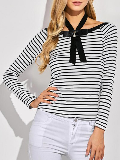 Striped Bowknot T-Shirt - WHITE XL Mobile