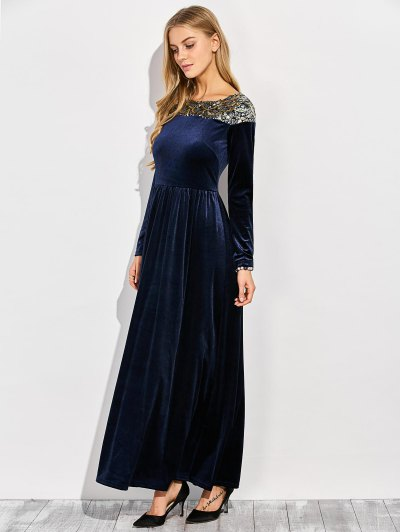 Sequined Velvet Long Dress With Sleeves - BLUE XL Mobile