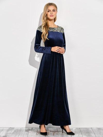 Sequined Velvet Long Dress With Sleeves - BLUE L Mobile
