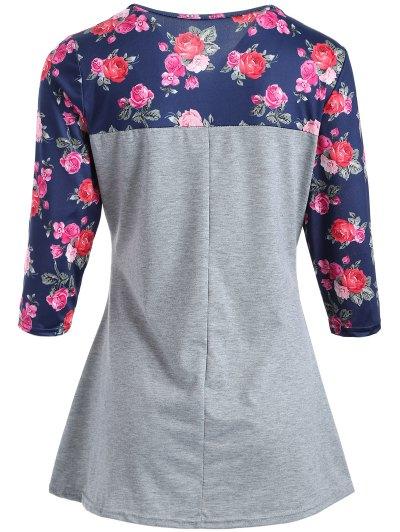 Loose Rose T-Shirt - GRAY L Mobile