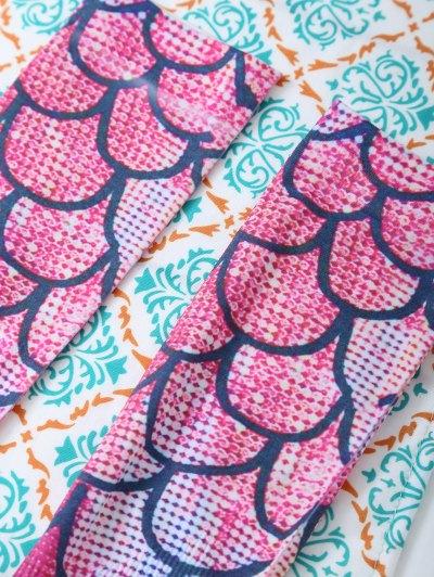 Skinny Mermaid Print Stockings - PINK ONE SIZE Mobile