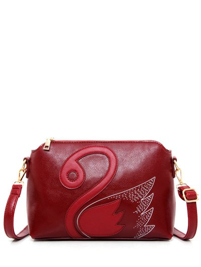 Textured Leather Stitching Wing Pattern Crossbody Bag - DEEP RED  Mobile