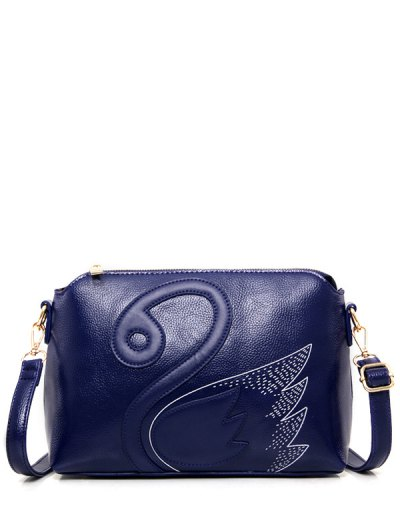 Textured Leather Stitching Wing Pattern Crossbody Bag - BLUE  Mobile