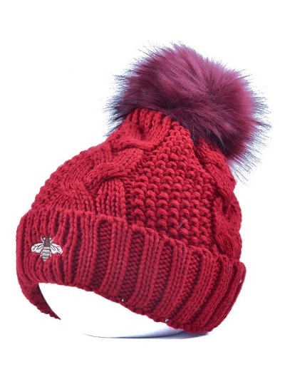 Pom Ball Flanging Bee Knitted Beanie - WINE RED  Mobile
