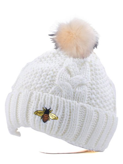 Pom Ball Flanging Bee Knitted Beanie - WHITE  Mobile