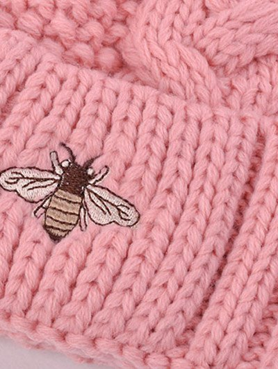 Pom Ball Flanging Bee Knitted Beanie - PINK  Mobile