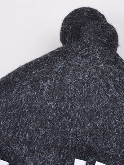Hello Embellished Chunky Knitted Hat - BLACK  Mobile