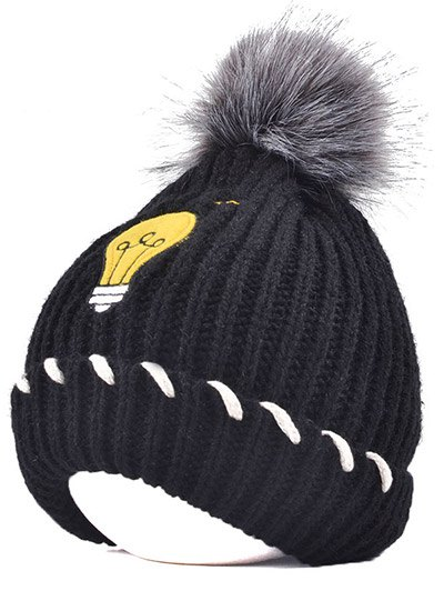 Pom Ball Flanging Knitted Hat - BLACK  Mobile