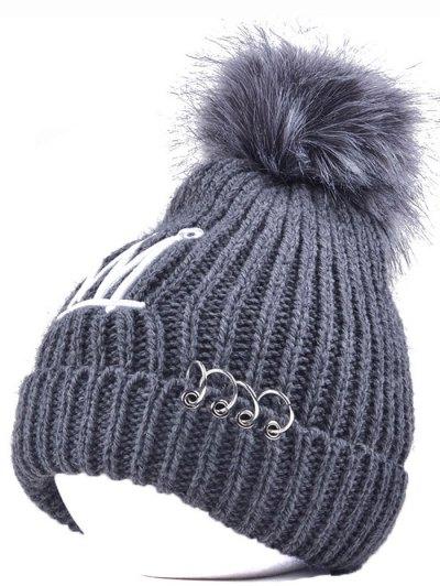 Crown Pom Ball Circle Hoop Embellished Hat - GRAY  Mobile