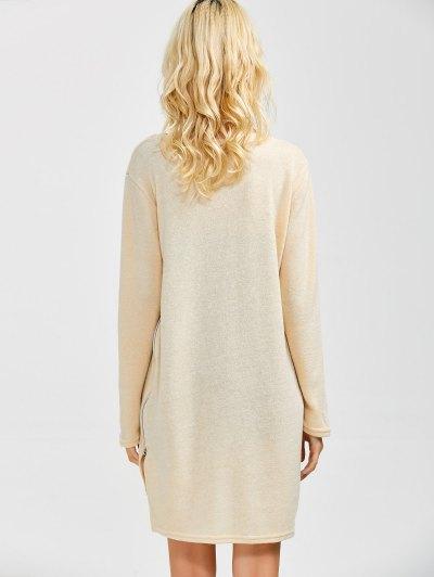 Side Zipper Sweater Dress - BEIGE S Mobile