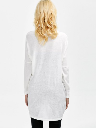 V Neck Batwing Sleeve Sweater - WHITE L Mobile