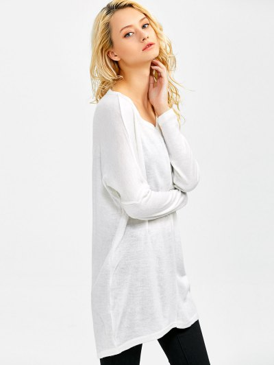 V Neck Batwing Sleeve Sweater - WHITE S Mobile