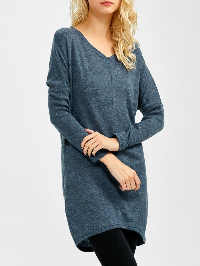 V Neck Batwing Sleeve Sweater - BLUE GRAY XL Mobile