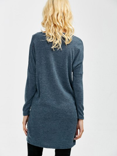 V Neck Batwing Sleeve Sweater - BLUE GRAY L Mobile