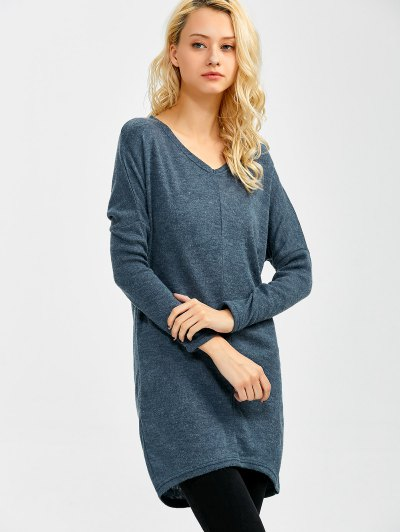V Neck Batwing Sleeve Sweater - BLUE GRAY M Mobile