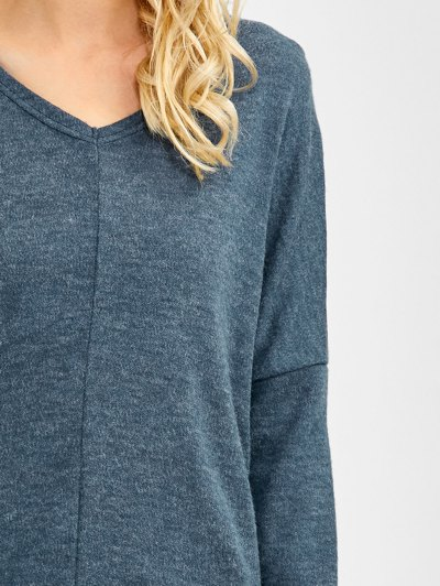 V Neck Batwing Sleeve Sweater - BLUE GRAY S Mobile