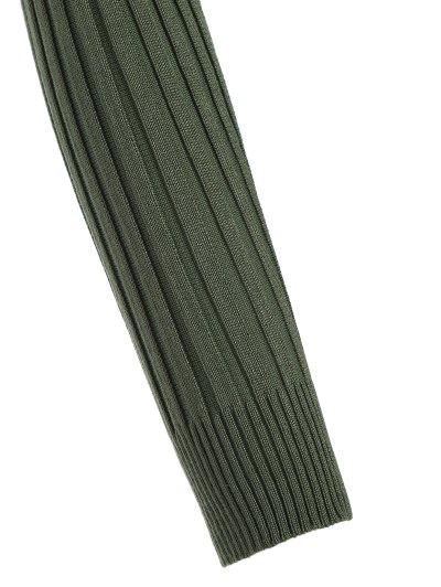 Ribbed Deep V Neck Jumper - GREEN ONE SIZE Mobile