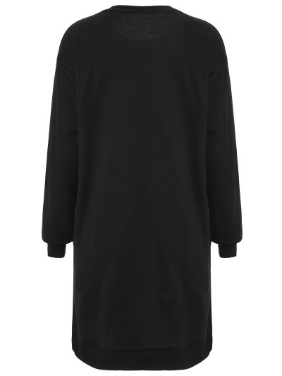 Embroidered Sequined Long Sleeve Dress - BLACK M Mobile