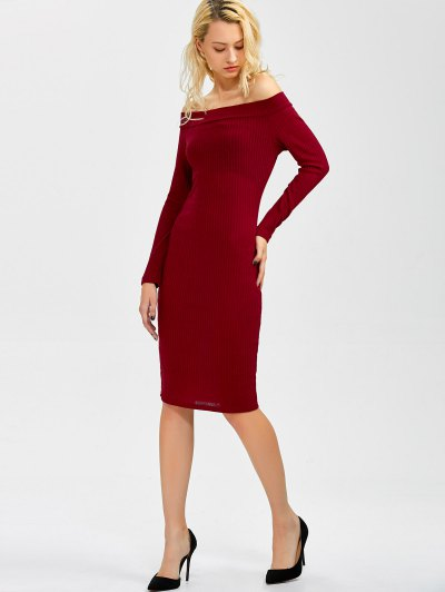 Off Shoulder Bodycon Long Sleeve Dress - WINE RED XL Mobile