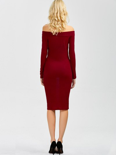 Off Shoulder Bodycon Long Sleeve Dress - WINE RED M Mobile