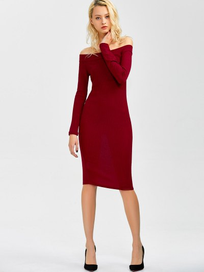 Off Shoulder Bodycon Dress - WINE RED S Mobile